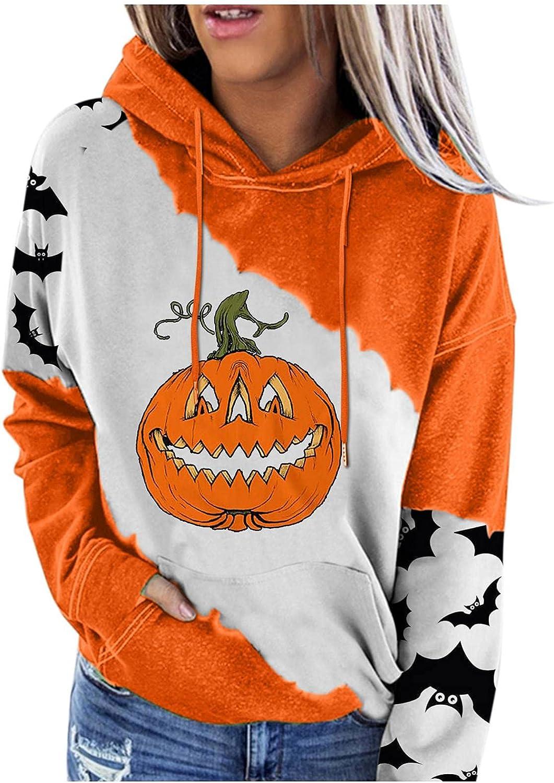 Halloween Sweatshirts for Women Drawstring Hoodies Long Sleeve Cute Pumpkin Print Tie Dye Pullover Tops with Pockets