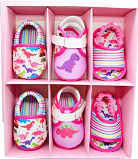 KazarMax Anti-Skid Breathable Soft & Comfortable Dino Printed Born Baby Winter Pack of 3 Booties Gift Set - TOOTSIES/Shoes