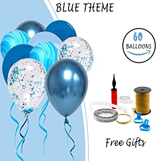 60Pcs 12Inch Balloon Arch & Garland Kit with Pump & Ribbon, Blue Confetti Balloons,Baby Boy Happy Birthday, Decoration Kit for Engagement & Weddings & Gender Reveal & Baby Showers & Graduation Party