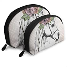 Pingshoes Makeup Bag Portrait Horse Polka Dot Portable Shell Beauty Bags Organizer Women