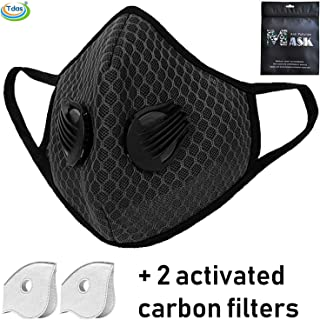 Tdas Anti pollution mask for dust for Allergy, Sinus & Asthma for Men Women Kids air dust proof mask Washable Reusable with 2 Filters (Black)