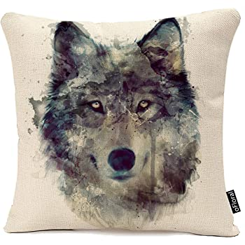 Blue Ridge Trading Wolf Jacquard Pillow One Size Gray /& White