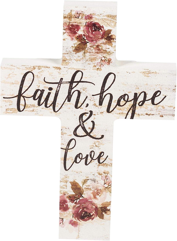 P. Graham Dunn Faith Hope & Love Floral Whitewash 5 x 7 Solid Pine Wood Wall Hanging Cross