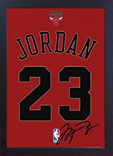 S&E DESING Michael Jordan Chicago Bulls Signed Autograph Printed on Canvas 100% Cotton Framed Print Autographed Photograph Poster Jersey Replica