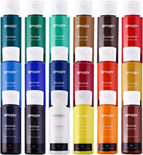 SPREEY Acrylic Paint Set of 18 Colors Large 18x59ml (2Oz) for Paint Supplies, Painting Canvas Wood Fabric, Nail Art, Gift, Rich Pigments Non Fading, Non Toxic Paints for Adults Kids Artists Beginners