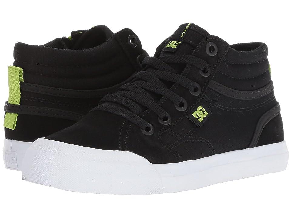 DC Kids Evan Hi Zip (Little Kid/Big Kid) (Black/Lime) Boys Shoes