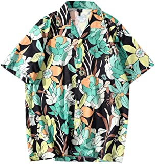 Mlide 2020 Summer Mens Button Hawaiian Short Sleeve Fashion Print Summer T-Shirt