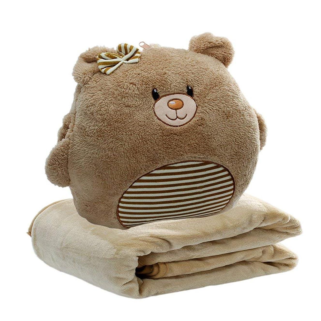 降ろすアートパフKOLAMOM 抱きまくら 毛布付き かわいいぬいぐるみ 背当て抱き枕 暖かい手 軽量 絨毯 お昼寝 収納便利 (くま)