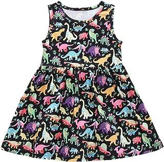 Vestido sin Mangas para niñas, Princesa Negra con Estampado de Dinosaurios para niños, Vestidos de Cuello Redondo (130cm)