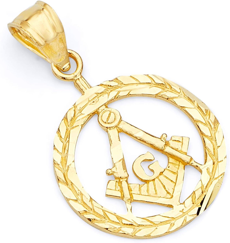 GoldenMine Fine Jewelry Collection 14k Yellow Gold Freemason Masonic Pendant