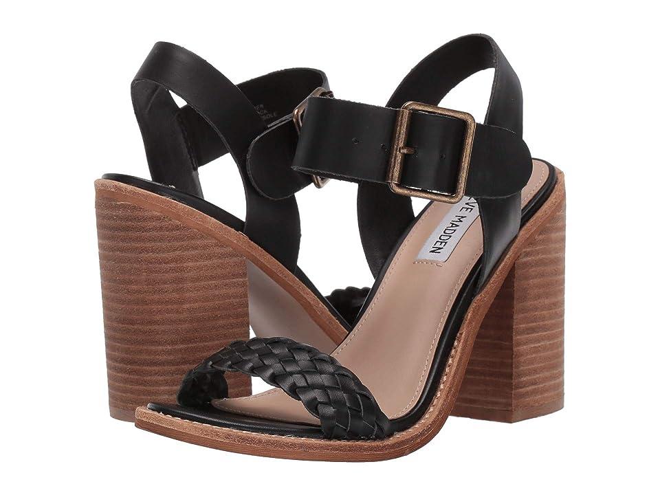Steve Madden Cadence Heeled Sandal (Black Leather) High Heels