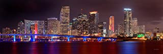 Miami Skyline PHOTO PRINT UNFRAMED NIGHT COLOR Downtown City 11.75 inches x 36 inches Photographic Panorama Poster Picture Standard Size