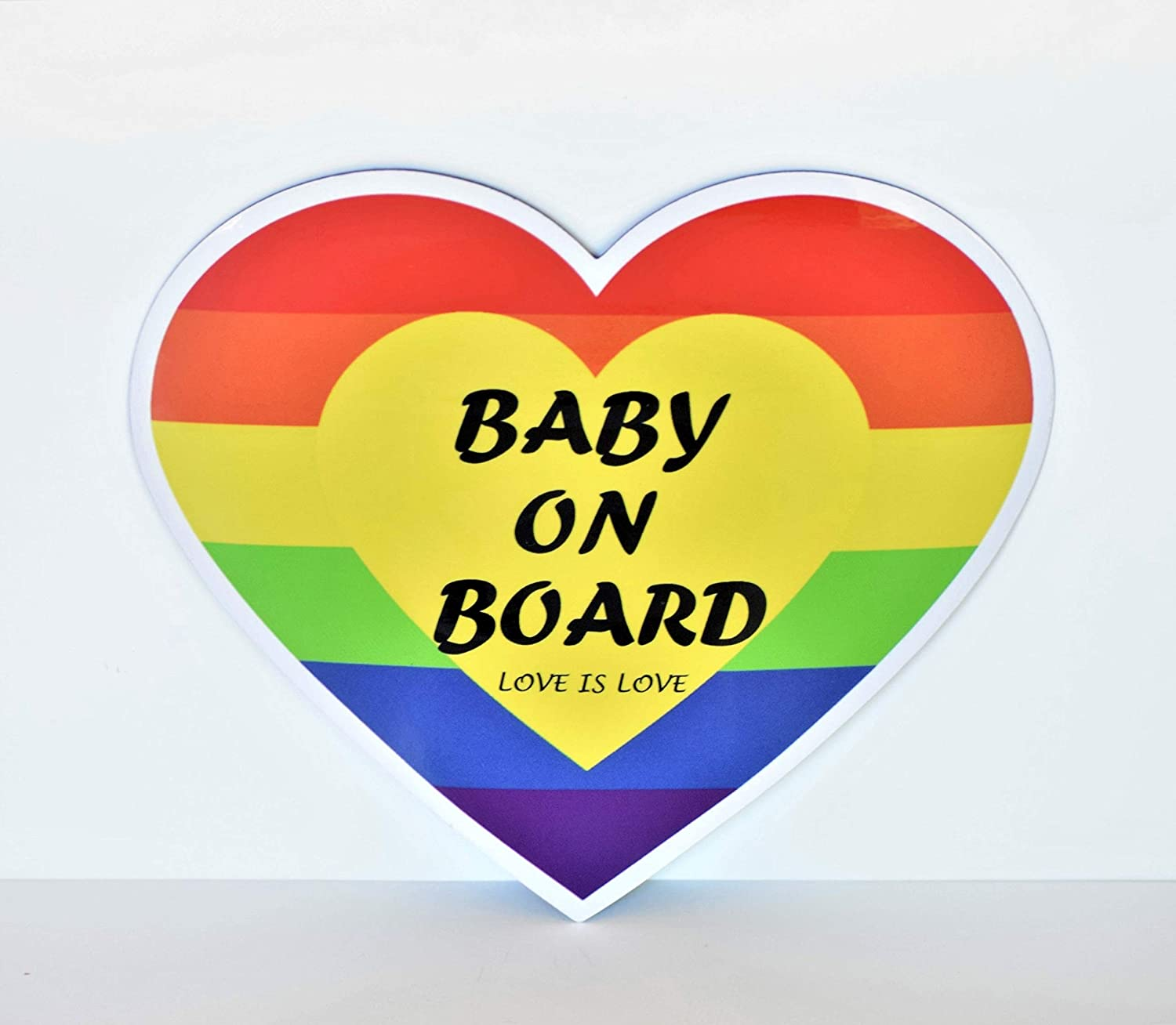 CHUBBYCHEEKS Baby on Board Magnet Sign for Car, Water Resistant, Weather Resistant with UV Protected Film (Rainbow Love)