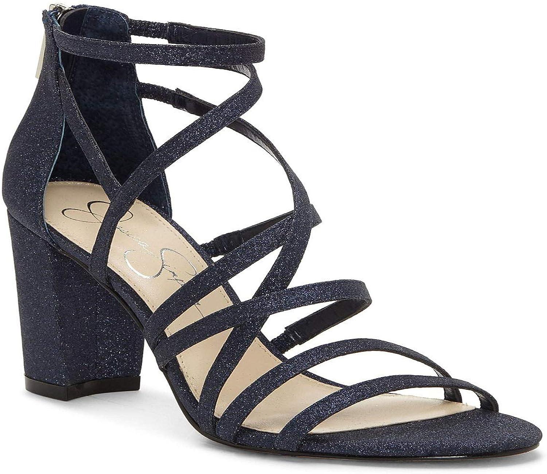Jessica Simpson Women's Stassey Synthetic Glitter Strappy Block Heel Sandals