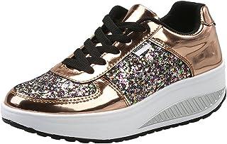 3c841bad Mujer Zapatillas de Deporte Cuña Zapatos para Caminar Aptitud Plataforma  Sneakers con Cordones Calzado de Tacón