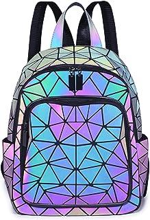 Damen Geometrisch leuchtender Rucksack Handtasche Mode Schultertasche Lingge Flash Reiserucksack, Luminous1304, Einheitsgröße