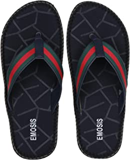 Emosis Men's Slipper Cum Sandal - Latest & Stylish Synthetic Leather - for Outdoor Formal Office Casual Ethnic Daily Use - Available in Tan Brown Black Beige Blue Color - 0452M