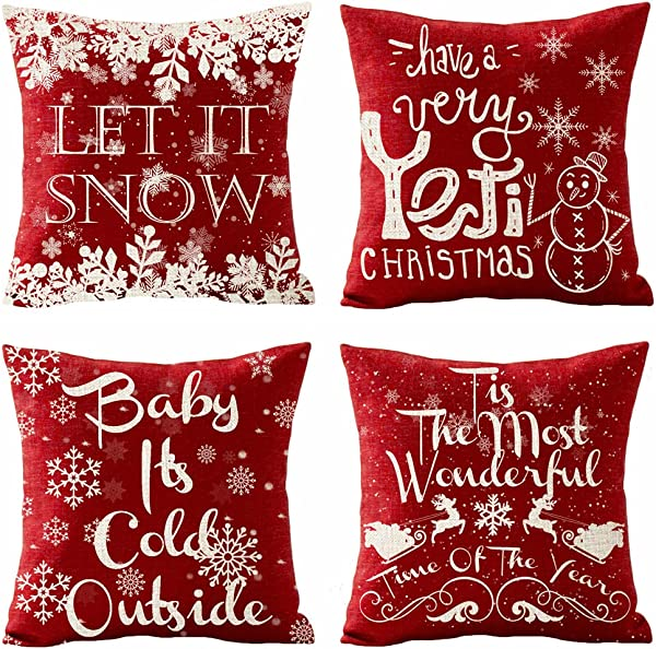 SOPARLLY Set Of 4 Merry Christmas Let It Snow Baby It S Cold Outside Snowflake Snowman Reindeer Sled Pillows Cotton Linen Decorative Home Office Throw Pillow Case Couch Cushion Cover 18X18 Inches