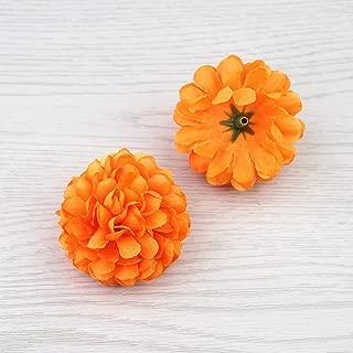 FLOWER 30pcs 5cm Silk Carnation Artificial Pompom Head Mini Hydrangea Home Wedding Decoration DIY Wreaths (Orange)