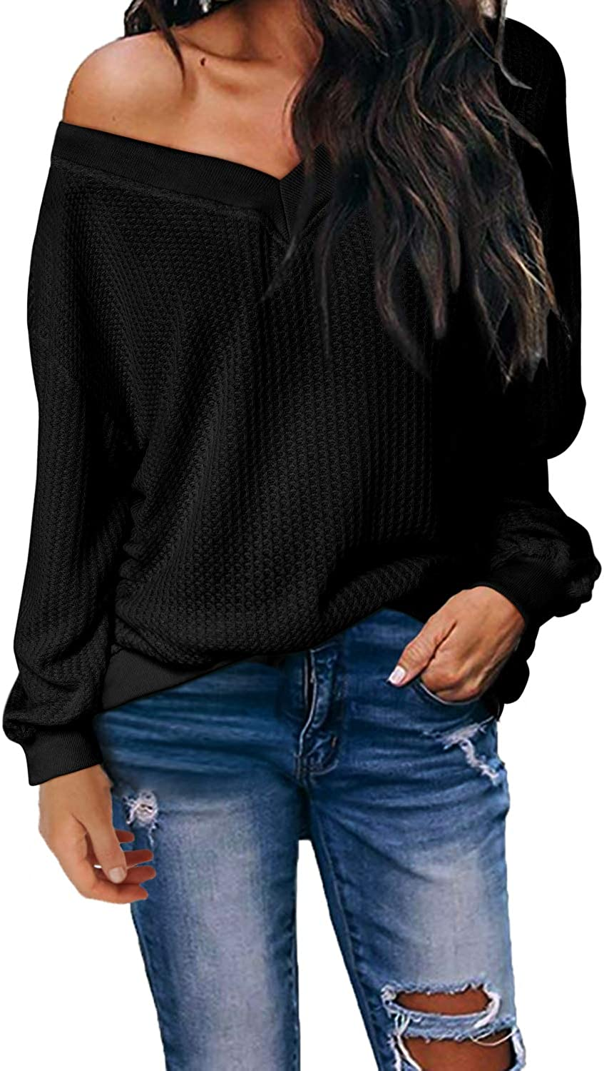 kenoce Jersey Mujer Otoño Suéter Fuera del Hombro Oversize Ancho Tejer Sueter Oversize Pullover Mujer Manga Larga Casual Suelto Blusa