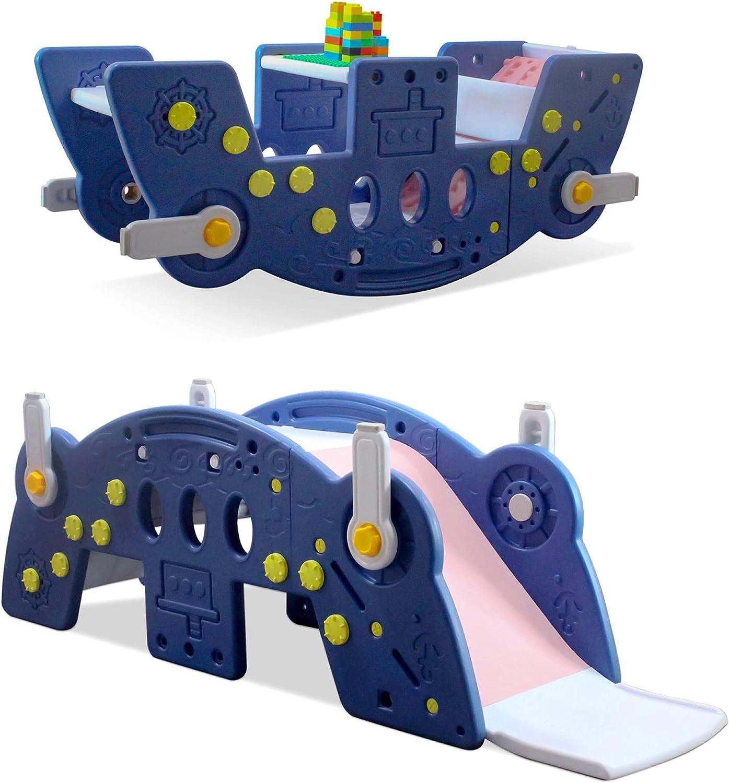 Huokan 4 in 1 Toddler Slide Rocking Toy, Portable Kids Rocking H