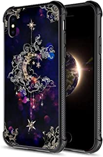 iPhone X Case,Crescent Moon Floral Pattern Tempered Glass iPhone Xs Cases for Girls [Four Corners] [Anti-Fall] Fashion Pattern Design Cover Case for iPhone X/Xs Galaxy Star
