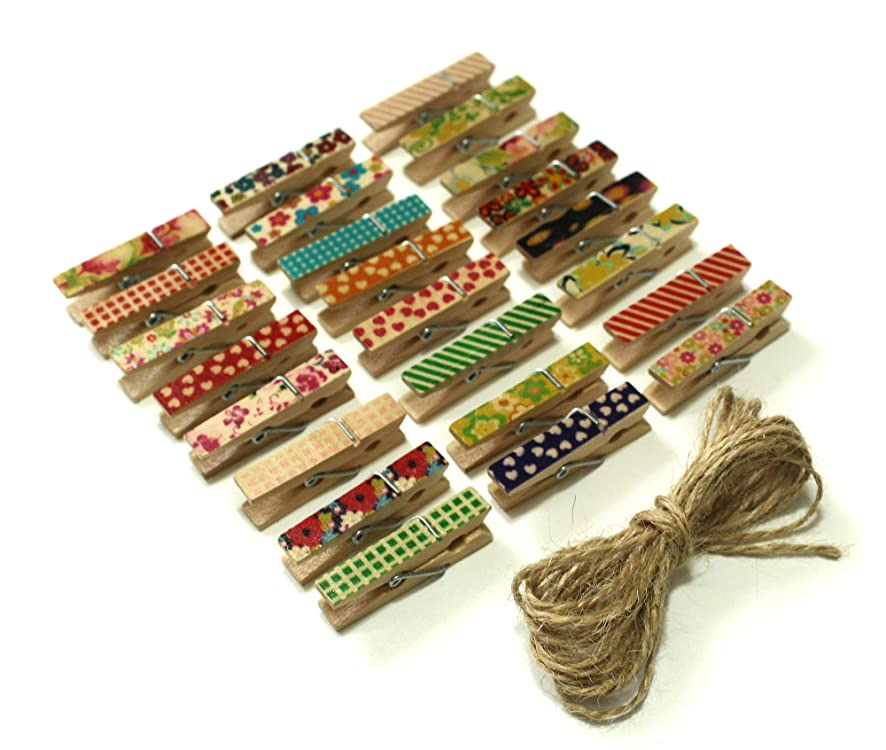 All In One Mixed Color 100pcs Mini Natural Wooden Photo Paper Peg Pin Clothespin Craft Clips with Natural Twine (Painted Pattern - 100pcs)