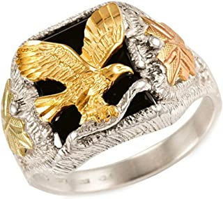 Men's Onyx with Diamond-Cut Eagle Ring, Sterling Silver, 12k Green and Rose Gold Black Hills Gold Motif