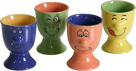 Preisvergleich für Ribelli Lustige Eierbecher Faces Keramik Farbig Eierbehälter Becher Eierständer Eier Eierhalter (12)