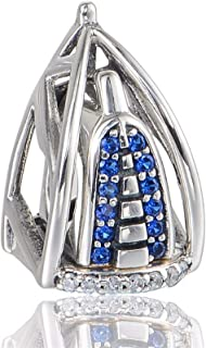 EVESCITY Limited Edition Dubai Burj Al Arab 3D Swarovski 925 Sterling Silver Bead For Charms Bracelets For Charm Bracelets...