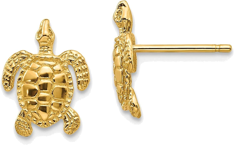 Sea Turtle Post Earrings in 14K Yellow Gold