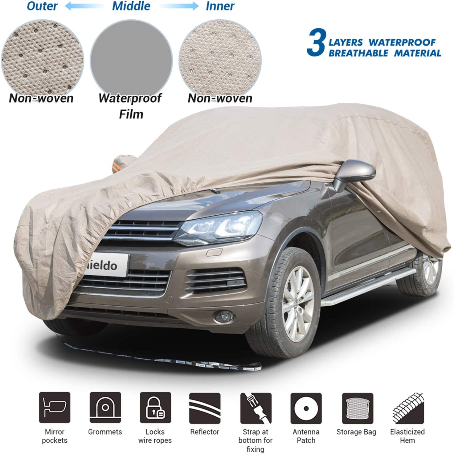 Shieldo Thick Shell Car Cover Waterproof Windproof Snowproof All Season Weather-Proof Fit 180-195 Full Size SUV