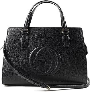 Soho Leather Satchel tote Structured Black Shoulder Bag New