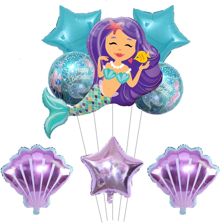 8PCS Mermaid Mylar Balloons Kit for Little Mermaid Theme Birthday Party Decorations for Girls, Baby Shower, Bachelorette, Backdrop