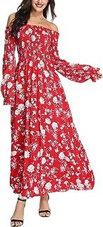 Women Off Shoulder Maxi Dress Floral Short Sleeve Split Slit Boho Summer Hawaiian Party Beach Wedding Dress