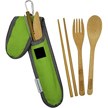 Bamboo Travel Utensil Set | Bamboo Fork, Knife, Spoon, Chopsticks, Straw, Straw-cleaning brush, Travel Pouch and Carabiner | Excellent For Everyday Use! ((1Set) Summer Green)