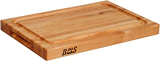 John Boos Block BBQBD Reversible Maple Wood Edge Grain BBQ Cutting Board with Juice Groove, 18 Inches x 12 Inches x 1.5 In...