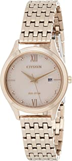 CITIZEN Womens Solar Powered Watch, Analog Display and Stainless Steel Strap - EW2533-89X
