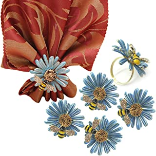 ZESLMG Daisy Flower Napkin Rings Holder Dinner Table Decoration for Wedding Party Thanksgiving Banquet Family Gathering Daily Crystal Bee Jewelry Buckle Sets (6 Piece Blue)