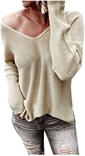 Women Cashmere Knit Sweater Pullover Solid Crew Neck Long Sleeve Winter Warm Blouse Loose Oversized Sweater Top