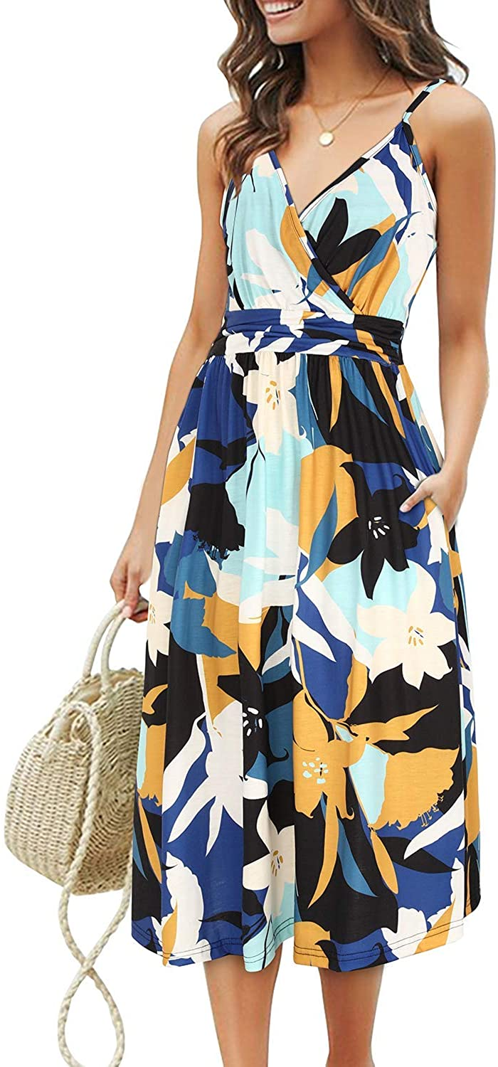 OUGES Women's Summer Spaghetti Strap V-Neck Floral Short Party Dress with Pockets