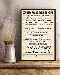 kalistamao Wall Art-Take Me Home Country Roads Song Lyrics Portrait Poster Print for Home、Office and Cafe 14x11in with Frame