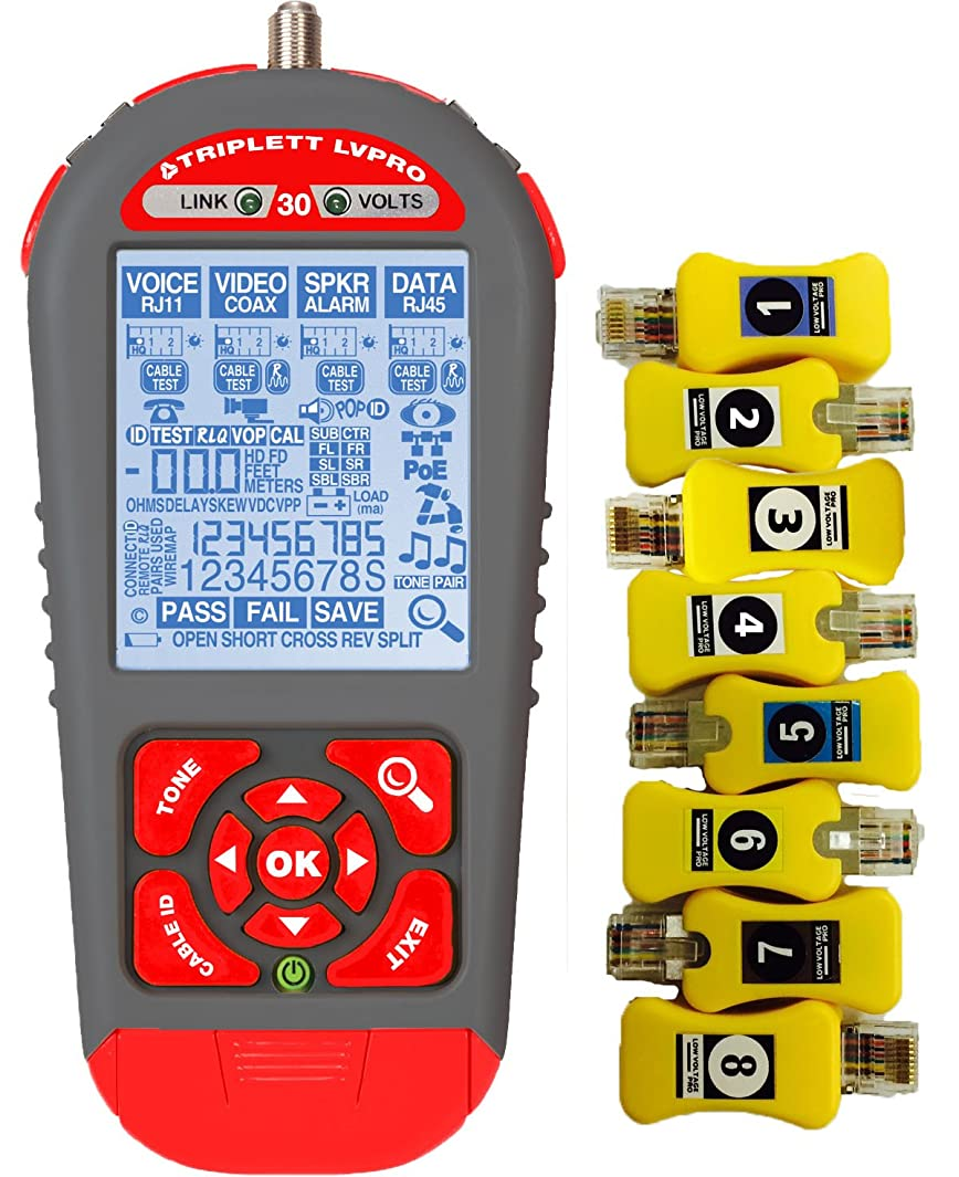Triplett Upgradeable Cable Tester with Printable Results - 8 Smart Remotes| 250 Reports| Cable Map, Ethernet Switch Port Blink, Speaker Pop, Cable Length, PoE Volts, Battery Test & More - (LVPRO30SR)