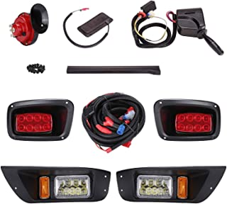 10L0L Golf Cart Deluxe LED Head/Tail Light Kits for EZGO TXT (Year 1995-2015) with Universal Deluxe Light Upgrade Kit, with Turn Signals Switch Horn Brake Lights Harness