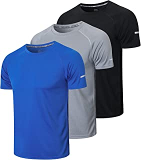 Sponsored Ad – HUAKANG 3 Pack T Shirts Men Breathable Sport Shirts Men Cool Dry Running Tops Short Sleeve Gym Tops for Men