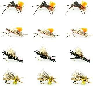 Dropper Hopper Foam Body Grasshopper Trout Flies Assortment - 12 Dry Flies 4 Patterns - Dry Flies For Stream Fly Fishing