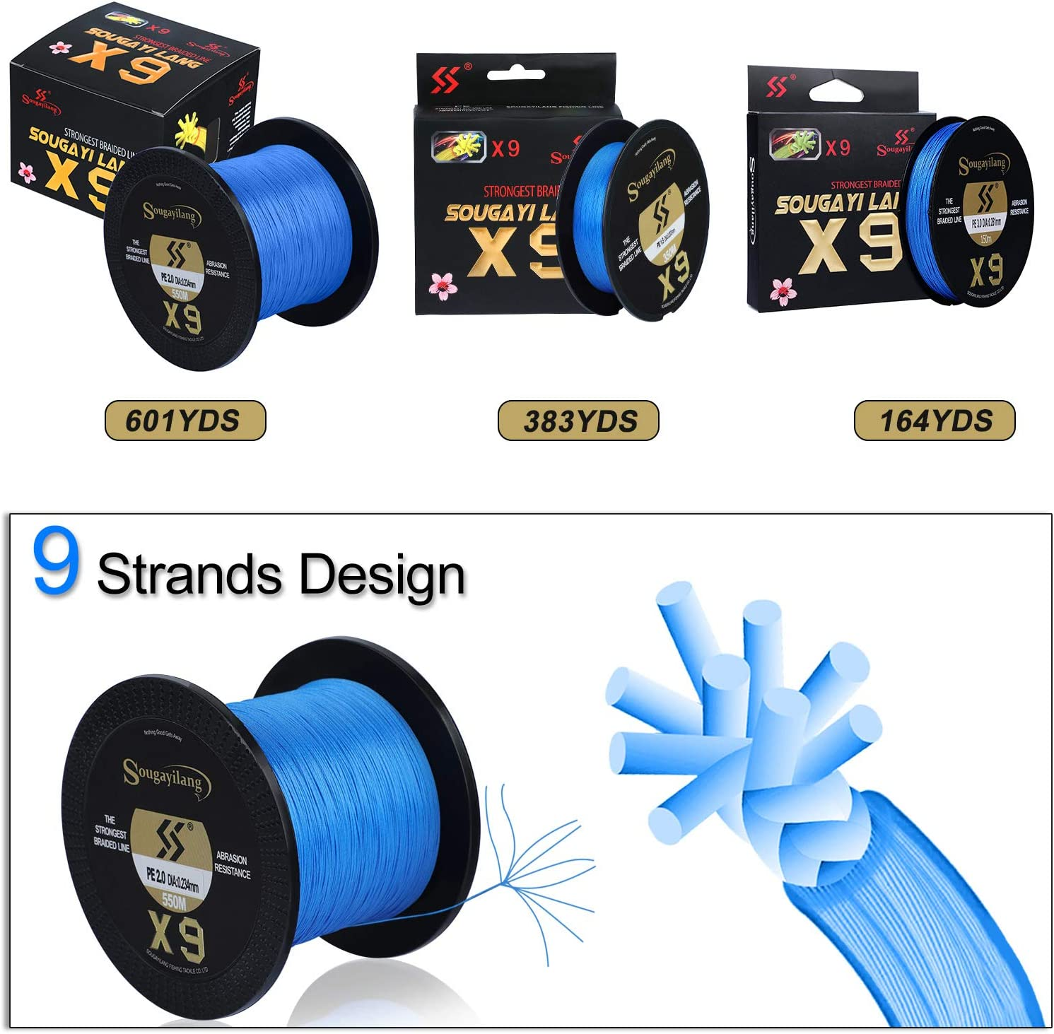 Sougayilang 12 Strands Braided Fishing Line Abrasion Resistant 20LB Braided Lines Incredible Super Strong PE Fishing Lines Braid 9 Strands