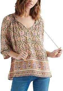 Lucky Brand womens PAISLEY BORDER PRINT PEASANT TOP Shirt