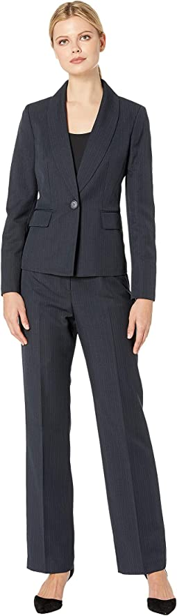 One-Button Shawl Collar Stripe Pants Suit