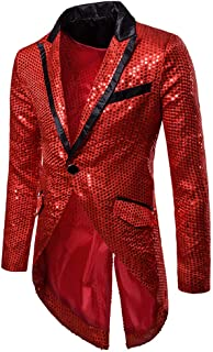 Mens Sequin Tailcoat Swallowtail Suit Jacket Party Show Tux Dress Coat